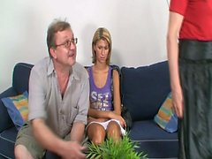 Old couple convince a horny young czech babe to join and fuck them