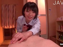 Busty Japanese jerking dude cock