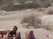 Beach Dogging! Ainara fucks a voyeur and a couple join the fun