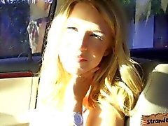 Pretty blonde teen gets to suck and fuck later