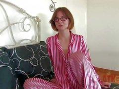 Bookworm Jay Taylor in panties spreads her legs wide