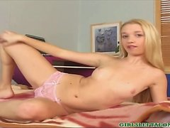 Skinny petite solo teen Nancey stripping and riding on big