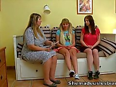 Milf momma makes two young gals have lesbian sex