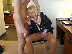 Mature in business outfit enjoys young lover
