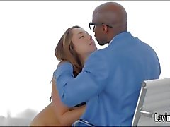 Pornstar Remy LaCroix sucks a black dick and gets analed