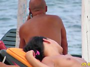 Close-Up Gorgeous Topless Voyeur Beach Teen
