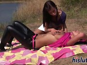 Hot lesbian session at the beach