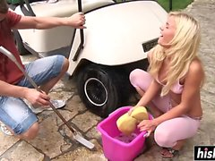 Slut gets penetrated on a golf cart