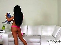 Beautiful amateur teen riding a fake agent