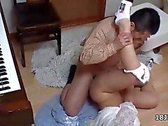 Cute Asian teen babe gets nailed on the floor