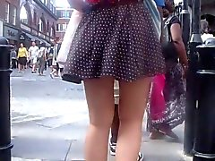 Short skirt on a windy day - SPECTACULAR !