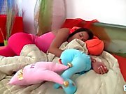 Teen Jessica wakes up horny