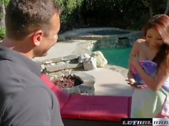 Sami blows the new pool guy and milks out the cum