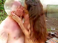 Old and young lustfully outdoor fuck