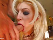 Blonde in fishnet gets double penetration