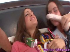 Amateur teen step sis threesome