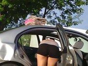 Teen hottie cleaning car