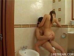 Brunette teen shower stuffing
