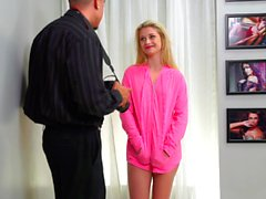 Extreme casting of a blonde teen