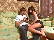 Teen lovers fucking on a sofa
