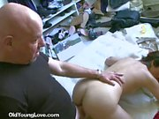 Horny Brunette Fucks Older Man