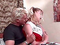 Cute cheerleader seduced by horny boyfriend