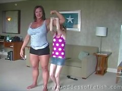 huge muscular woman vs tiny petite teen