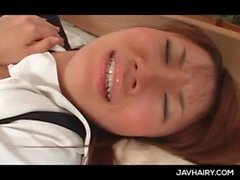 Hairy juicy Japanese teen twat licked and pounded hard
