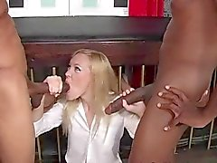 Slut Schoolgirl in Threesome Interracial
