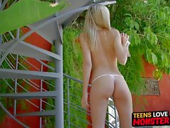 Teen beauty Amanda Tate rammed and cum fed by fat cock