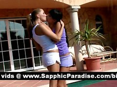 Amazing brunette and blonde lesbos kissing and having lesbo love