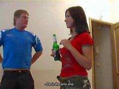 Teenage slut gets drunk and triple teamed