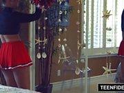 TEENFIDELITY Cute Cheerleader Liza Rowe Shakes Her Pom Poms