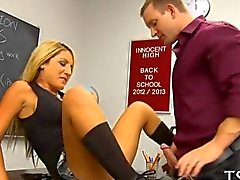 Schoolgirl Rides her teachers cock in detention