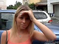 Cute eighteen year old hottie banged in a car