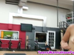 Teen babes get naked in the gym