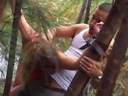 Teen chick gets tied up and fucked in forest