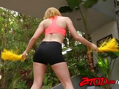 Strawberry blonde teen cheerleader takes a big size creampie