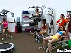 Sorority babes work out till their exhausted