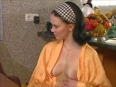 Young busty daughter Camila seducing the inspector