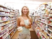 Super cute flashes boobs in store