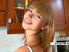 Aina 18 years Riding Huge dildo on Kitchen Table