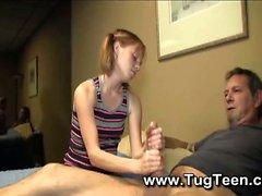 Petite pigtail girl gives handjob