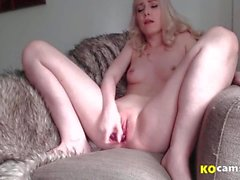 Cute blonde mastubating vaginal and squirting on chair