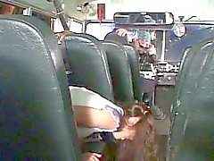 Brunette teen gets fucked in the schoolbus