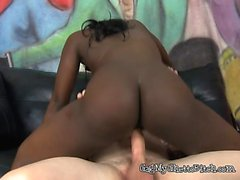 Young Ebony Rides Mean White Cock Of Security Guard