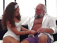 Latin Melody Petite crave for an old cock in mouth and pussy
