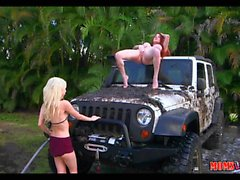 Teen and MILF have Dirty carwash