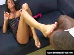 Foot fetish - Sexy teen babes fucking cock with their feet 31