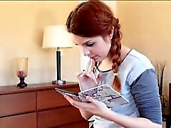 Cute red hair teen Amarna Miller pounded by big black dick